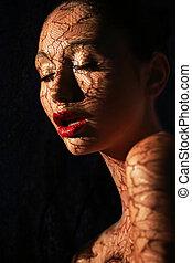 ornamentación, mujer, oscuridad, patrón, velo,...