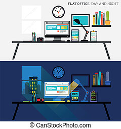 Office Day and Night Flat design desk layout Vector...