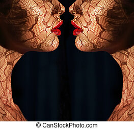 Fantasy. Two Women's Faces with Tracery Opposite each other....