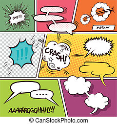 Comic Speech Bubbles - Retro Comic Speech Bubbles - vector...