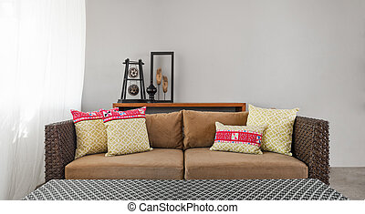 Beige brown sofa in luxurious interior setting and beautiful...