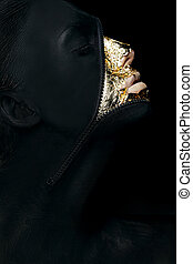 Creative Concept. Surreal Fancy Woman Painted Black with Zip...