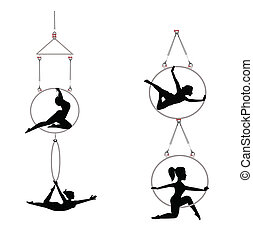 tandem aerial dancers - aerial dancers with hoops in...