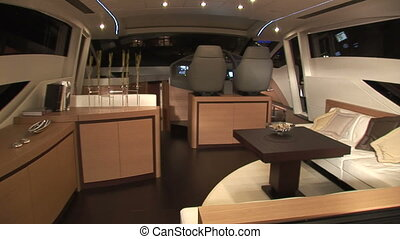 Main deck of luxury yacht at night