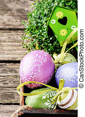 Easter setting with decorative eggs
