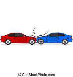 Car crash - Cartoon illustration showing two cars after a...