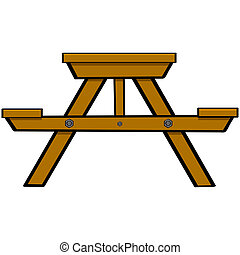 Picnic table - Cartoon illustration showing a typical wooden...