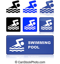 Swimming pool sign - Sign in different colors showing a man...
