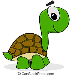 Cartoon turtle - Cartoon illustration showing a happy green...