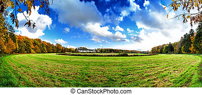Panoramic autumn landscape with abandoned hippodrome