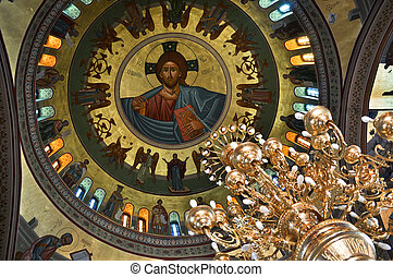 The dome painting and chandelier in the Greek Church...