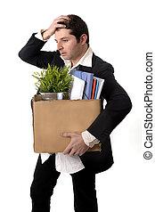Sujo, negócio, homem, papelão, caixa,...