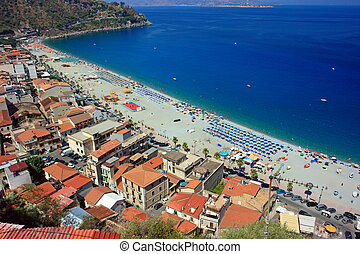 Scylla town - Aerial view on Scylla town in Calabria,...