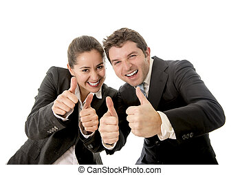 business man and woman giving thumbs up white background -...