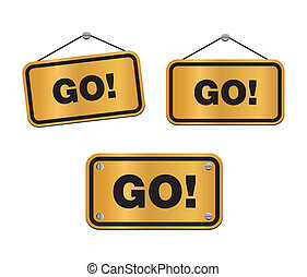 GO - bronze signs - suitable for user interface