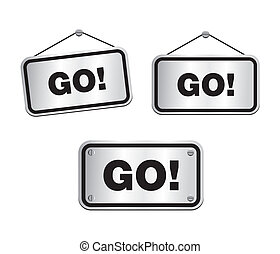 GO - silver signs - suitable for user interface
