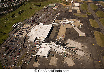 Aerial View of Wellington Airport, New Zealand - Aerial view...