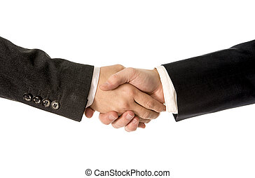 close up of business man shaking hand with Business woman -...