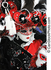 Red-black-white carnival garment - Venetian mask in...