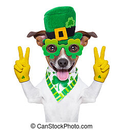 st patricks day dog with peace fingers