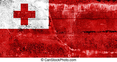 Tonga Flag painted on grunge wall