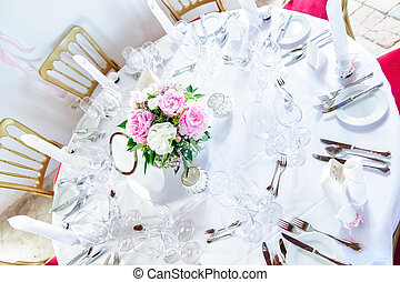Round Table decorated with Flowers