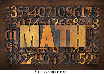 math mathematics word in vintage letterpress wood type...