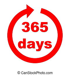 Accessibility for 365 per year - Red number 365 days in the...