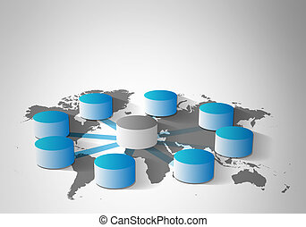 Concept of Data warehousing - Vector illustration of Data...