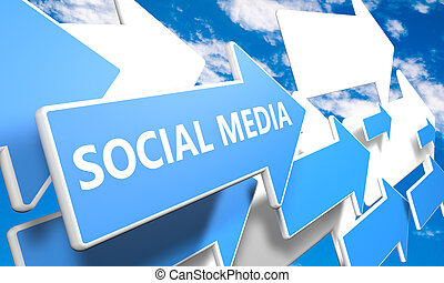 Social Media 3d render concept with blue and white arrows...