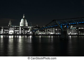 Millenium bridge seen from the Tate Modern St Pauls...