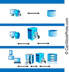 application architecture evolution - Vector illustration of...