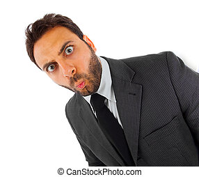 WOW Businessman - Young businessman with surprise expression...