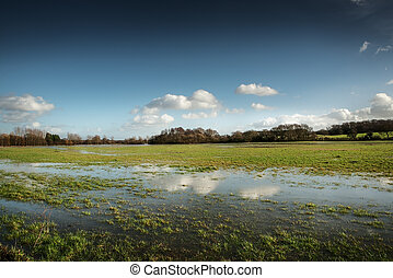 Flooded fields - Flooded field after heavy rain in essex,...