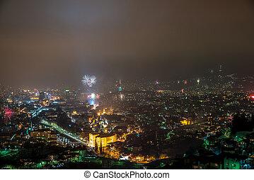 Sarajevo Fireworks Display - New Years Eve Celebrations At...