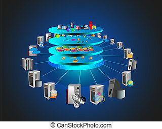 Service Oriented Architecture - vector Illustration of...