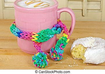 roze, koffie, Mok, sjaal