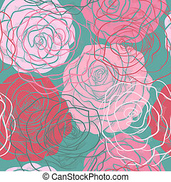 beautiful seamless pattern with roses  in a hand-drawn graphic style in vintage colors