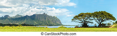The Koolau mountains viewed across Kaneohe Bay on Windward...