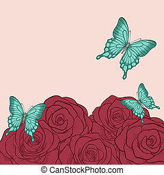 beautiful background for greeting cards and text with butterflies and roses  in a hand-drawn graphic style in vintage colors