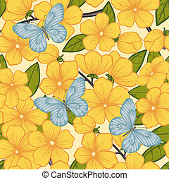 Beautiful seamless background with branches of flowering trees and butterflies