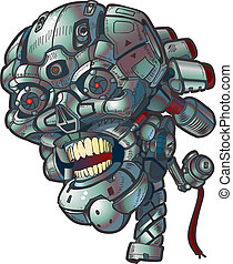 Robot Skull Vector Clip Art - Vector cartoon clip art...