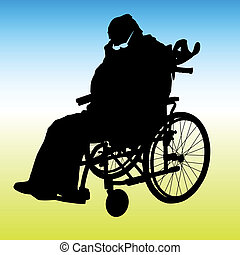 One handicapped man in wheelchair silhouette. Vector...