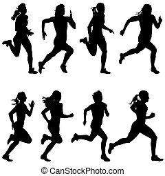 Set of silhouettes. Runners on sprint, women. vector...
