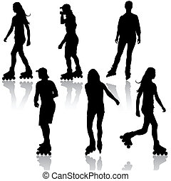 Silhouettes of people rollerskating. Vector illustration.