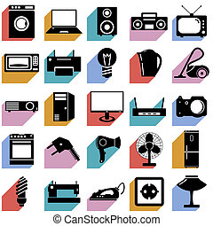 Collection flat icons with long shadow. Electrical devices...