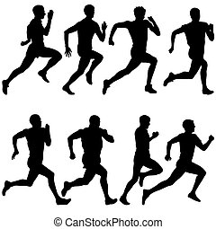 Set of silhouettes Runners on sprint, men vector...