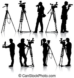 Cameraman with video camera Silhouettes on white background...