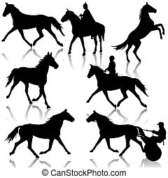 Set vector silhouette of horse and jockey