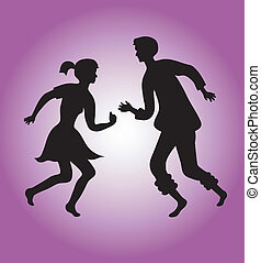 Silhouettes of a dancing couple